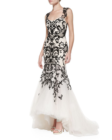 Embroidered Lace Mermaid Gown