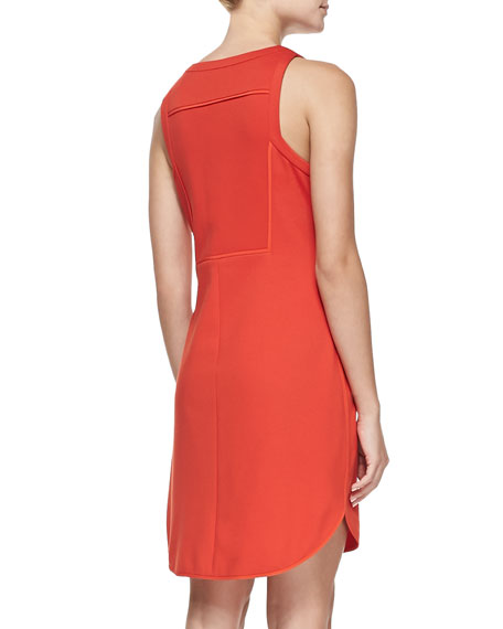 Mima Knit Crewneck Zip-Front Dress