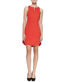 Trina Turk Mima Knit Crewneck Zip-Front Dress