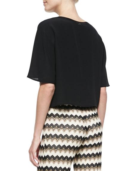 Khloe Silk Round-Neck Top, Black
