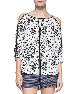 Trina Turk Posh Printed Cold-Shoulder Top