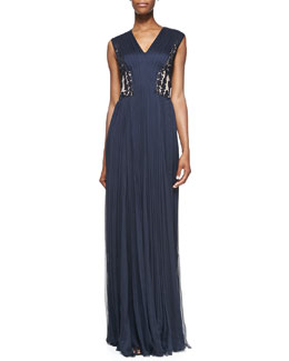 Tadashi Shoji Gathered Gown with Appliquéd Back Panel