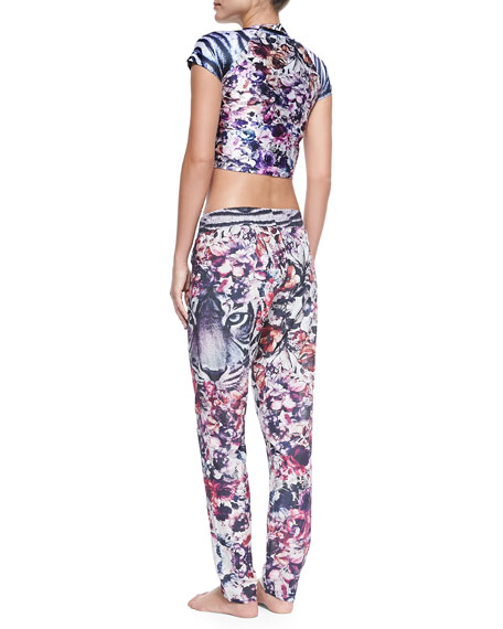 Printed Pull-On Drawstring Coverup Pants