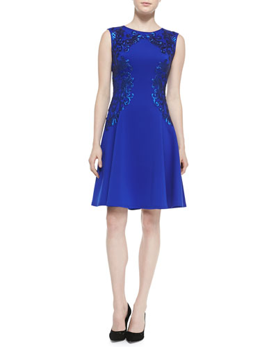 Tadashi Shoji Sleeveless Sequined-Appliqué Cocktail Dress