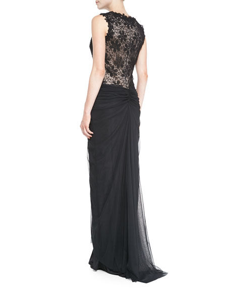 Sleeveless Lace-Bodice Gown with Ruched Skirt
