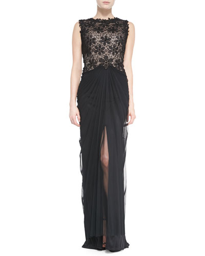 Tadashi Shoji Sleeveless Lace-Bodice Gown with Ruched Skirt