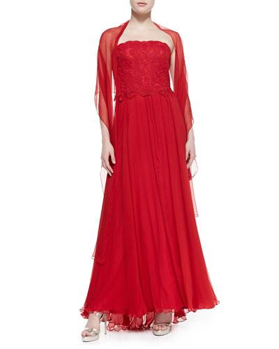 Tadashi Shoji Strapless Lace-Top Gown & Stole