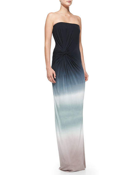 Chandra Twist-Waist Strapless Ombre Maxi Dress