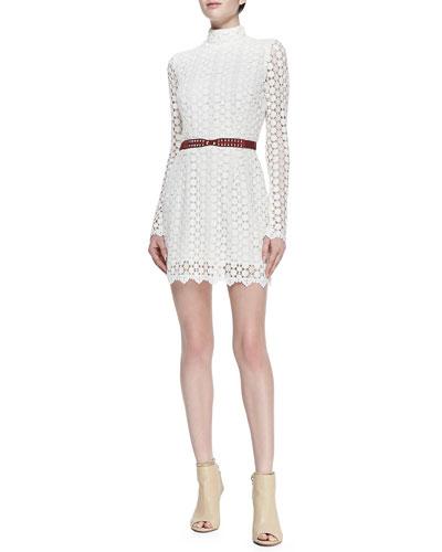 korovilas Elise Belted Floral-Lace Dress