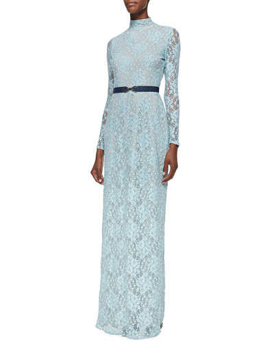 korovilas Marionna Belted Lace Maxi Dress