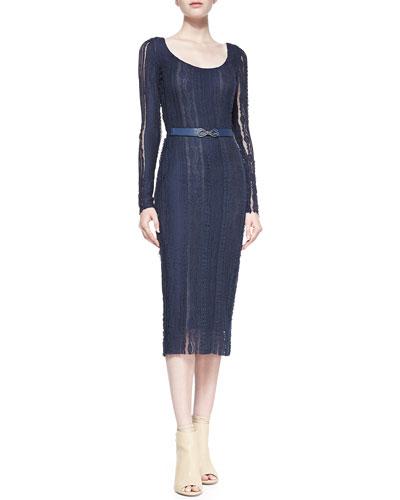 korovilas Eleanor Lace Pencil Dress, Navy