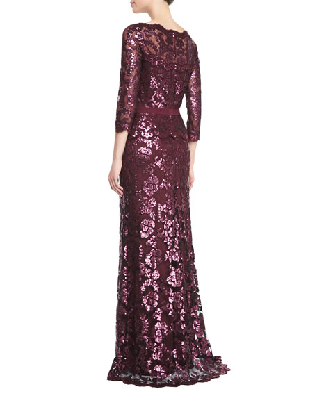Long-Sleeve Sequined Lace Gown