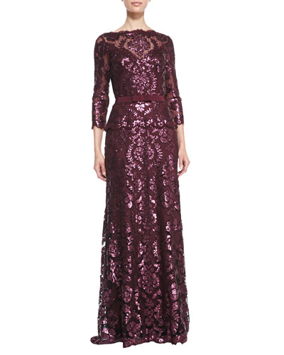 Tadashi Shoji Long-Sleeve Sequined Lace Gown
