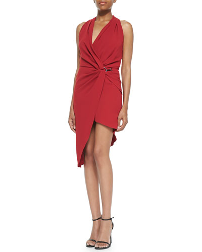 Halston Heritage Jersey Draped-Neck Wrapped Dress