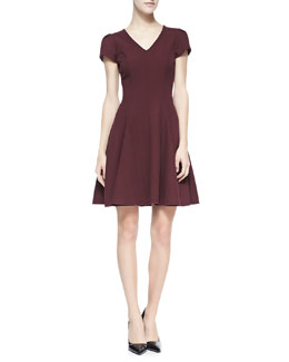 Halston Heritage Knit Fit-And-Flare V-Neck Dress