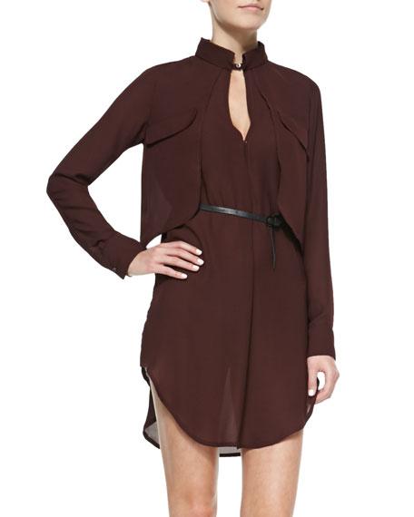 Layered Belted Mock-Neck Dress