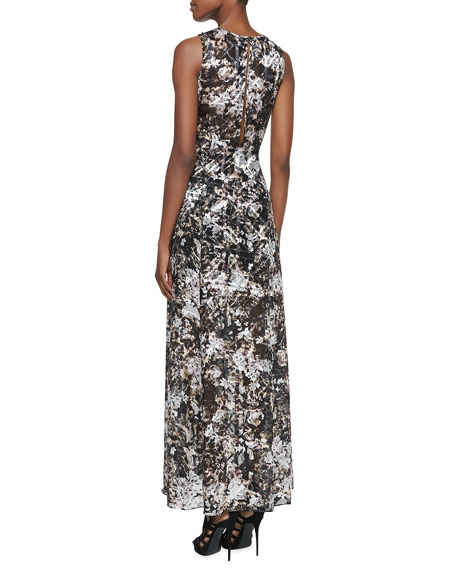 Printed/Burnout Sleeveless Satin Maxi Dress