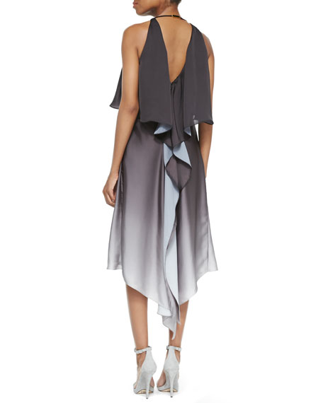 Ombre Back-Drape Sleeveless Dress