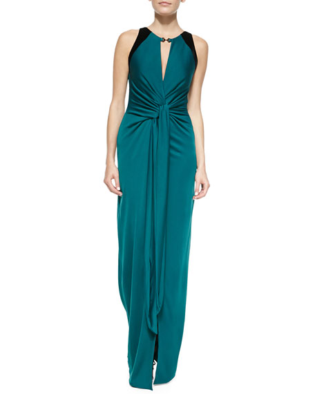 Jersey Twisted-Front Sleeveless Gown