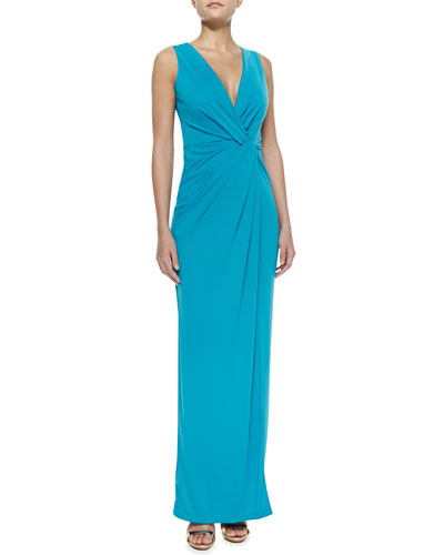 Halston Heritage Jersey Sleeveless V-Neck Gown