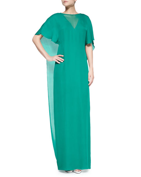Sheer Overlay/Insert Boat-Neck Gown