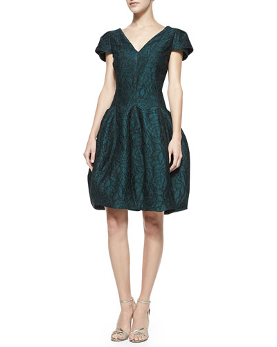 Halston Heritage Lace V-Neck Tulip-Skirt Dress