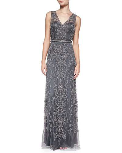 Catherine Deane Sleeveless Beaded Plunge-Back Gown