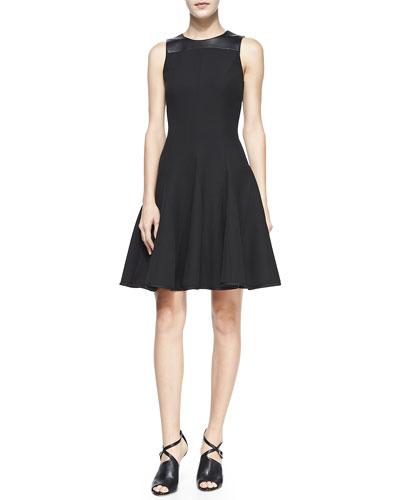 Halston Heritage Leather-Trim Crewneck Fit-&-Flare Dress