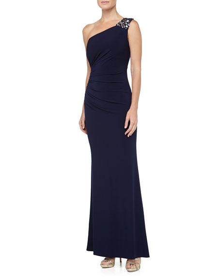 One-Shoulder Beaded Gown