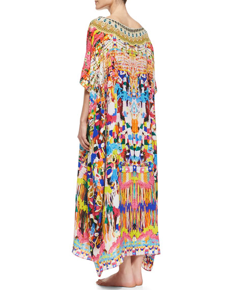 Silk Printed Round-Neck Caftan Coverup, Holi