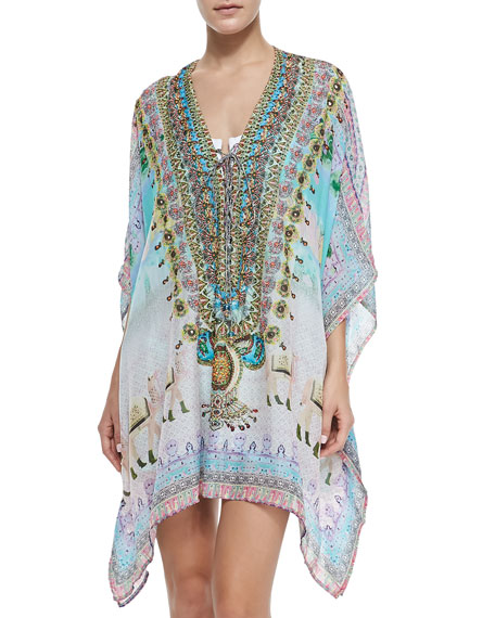 Silk Short Lace-Print Caftan Coverup, Jodhpur