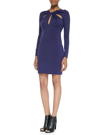 Ponte Twist-Front Cutout Long-Sleeve Dress