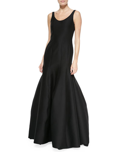 Halston Heritage Tulip-Skirt Sleeveless Gown