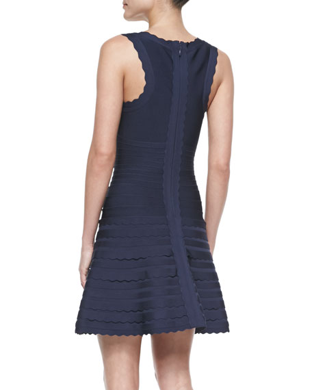 Scalloped-Edge Flounce Bandage Dress