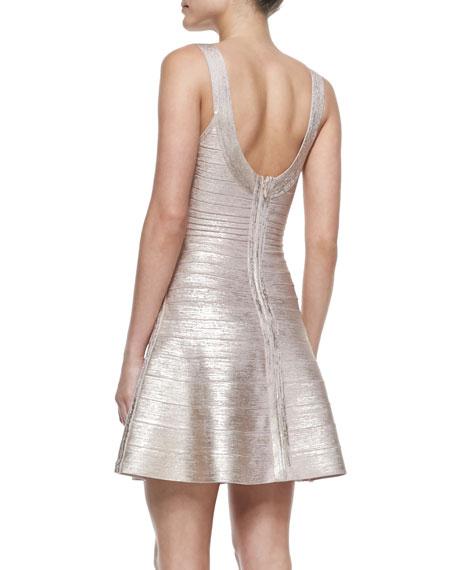 Flounce Skirt Bandage Dress, Rose Gold Combo