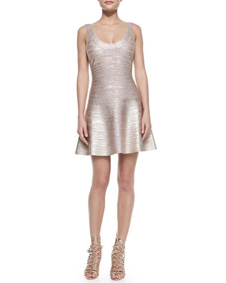 Herve Leger Flounce Skirt Bandage Dress, Rose Gold