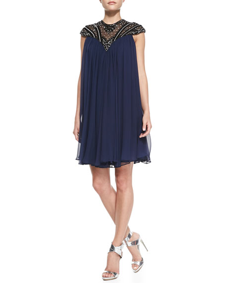 Cap-Sleeve Beaded Yoke Cocktail Shift Dress