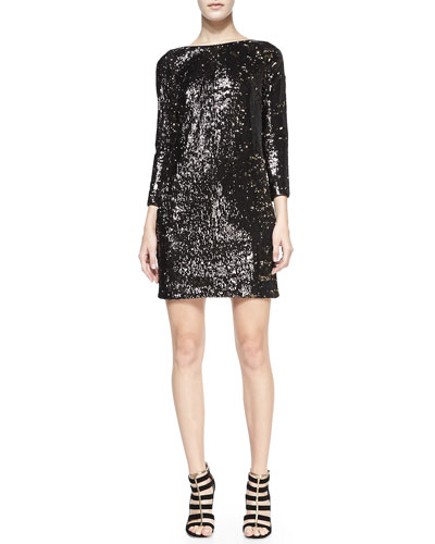 Halston Heritage Sequined Boat-Neck Shift Dress