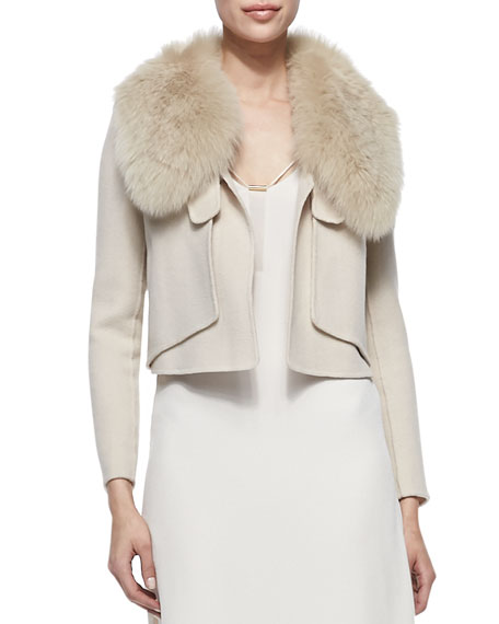 Fox Fur-Collar Cropped Jacket, Dusty Peach