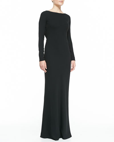 Halston Heritage Beaded-Lace Back Boat-Neck Gown