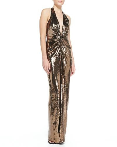Metallic Sequined V-Neck Halter Gown, Bronze