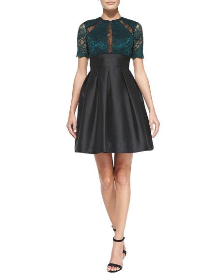 ML Monique Lhuillier Cutout Lace Bodice Cocktail Dress