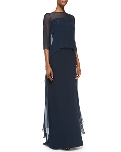 ML Monique Lhuillier Strapless Popover-Top Gown