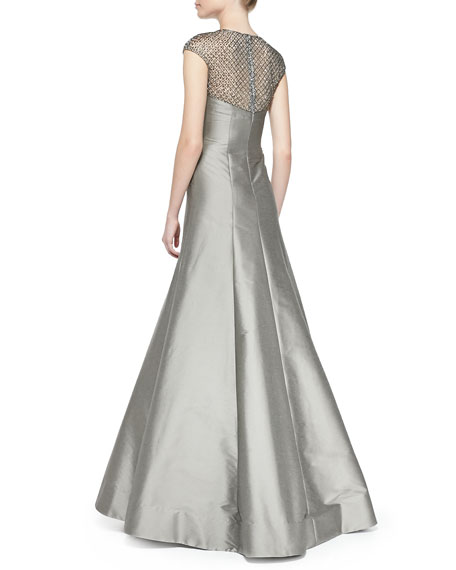 Cap-Sleeve Beaded Lace Illusion Gown