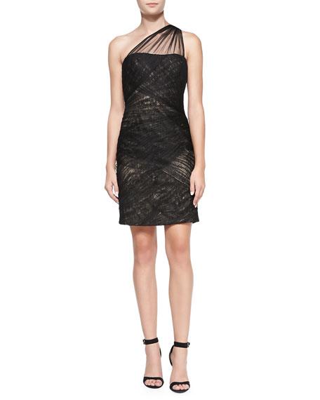 One-Shoulder Shirred Tulle Cocktail Dress