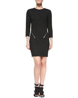 Rebecca Minkoff Emmet Zip-Detail Round-Neck Dress