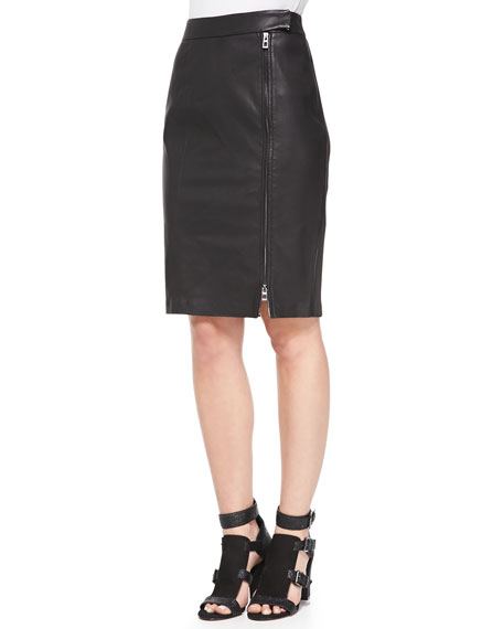 Marlo Leather & Knit Pencil Skirt