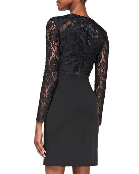 Lace Illusion-Sleeve Cocktail Dress
