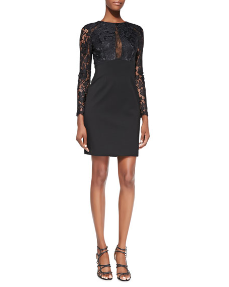 ML Monique Lhuillier Lace Illusion-Sleeve Cocktail Dress