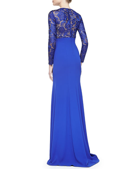 Long-Sleeve Lace Illusion Gown